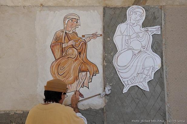 Journées de l'Archéologie : reconstitution d'une fresque médiévale